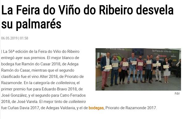 Faro de vigo, mellor tinto de colleiteiro na feira do viño 2019