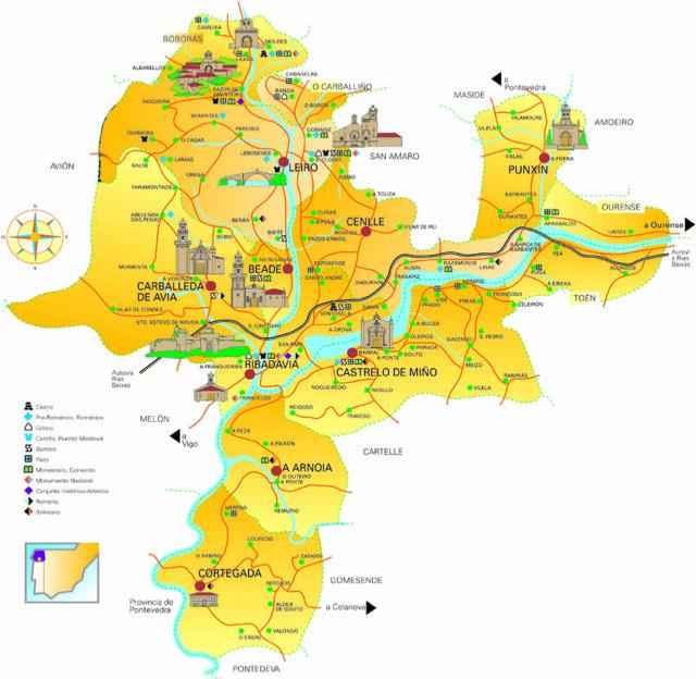 mapa de la Denominación de Origen Ribeiro. fuente: Ribeiro.wine