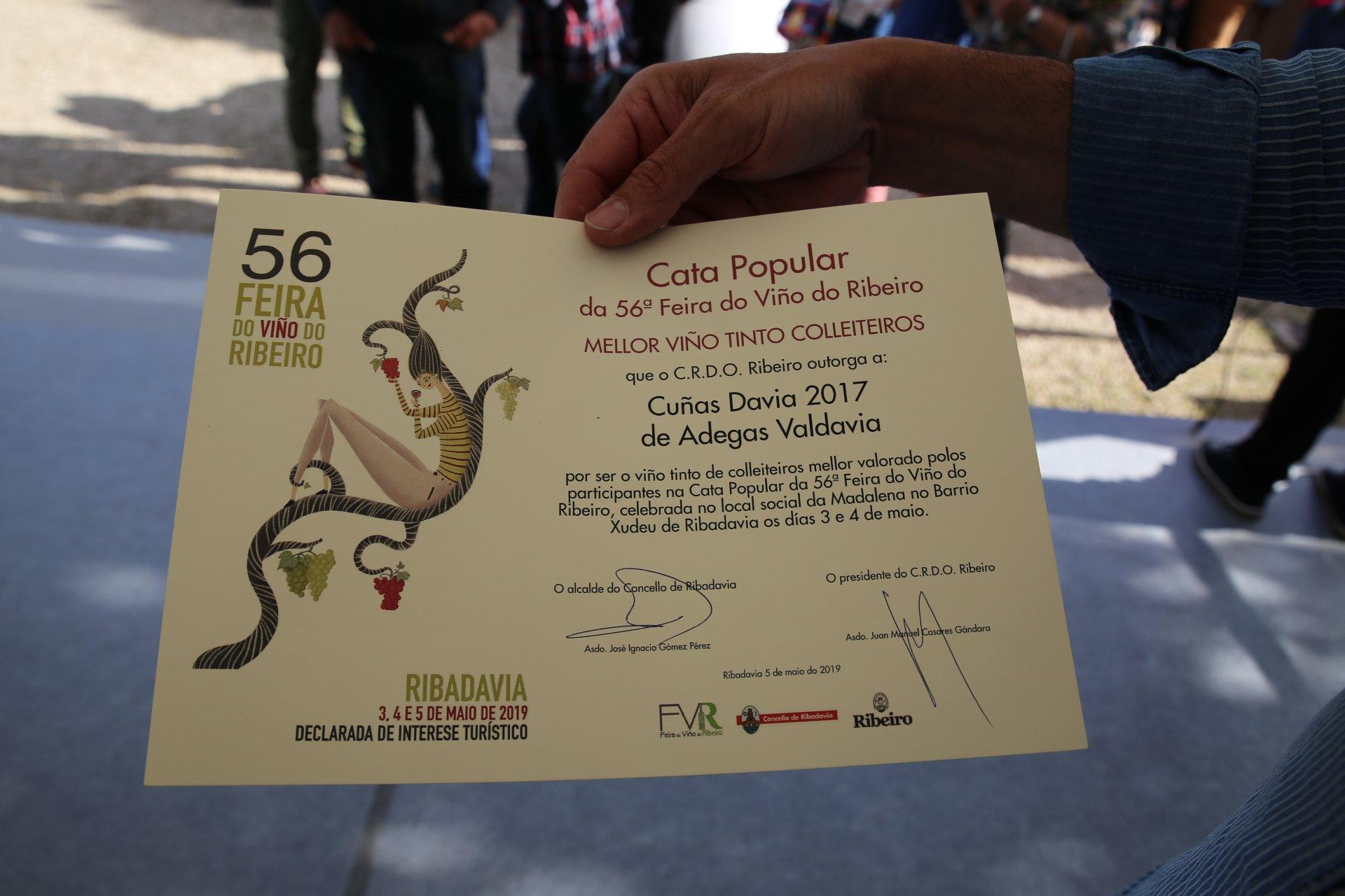 diploma del certamen de colleiteiros de la feira do viño do ribeiro 2019